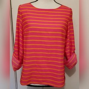 Calvin Klein Orange Pink Striped Blouse Cuffed
